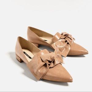 ZARA BWT Bow-Detailed Flat Shoes